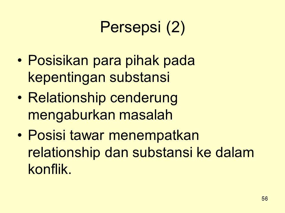 56 Persepsi (2) •Posisikan para pihak pada kepentingan substansi •Relationship cenderung mengaburkan masalah •Posisi tawar menempatkan relationship dan substansi ke dalam konflik.