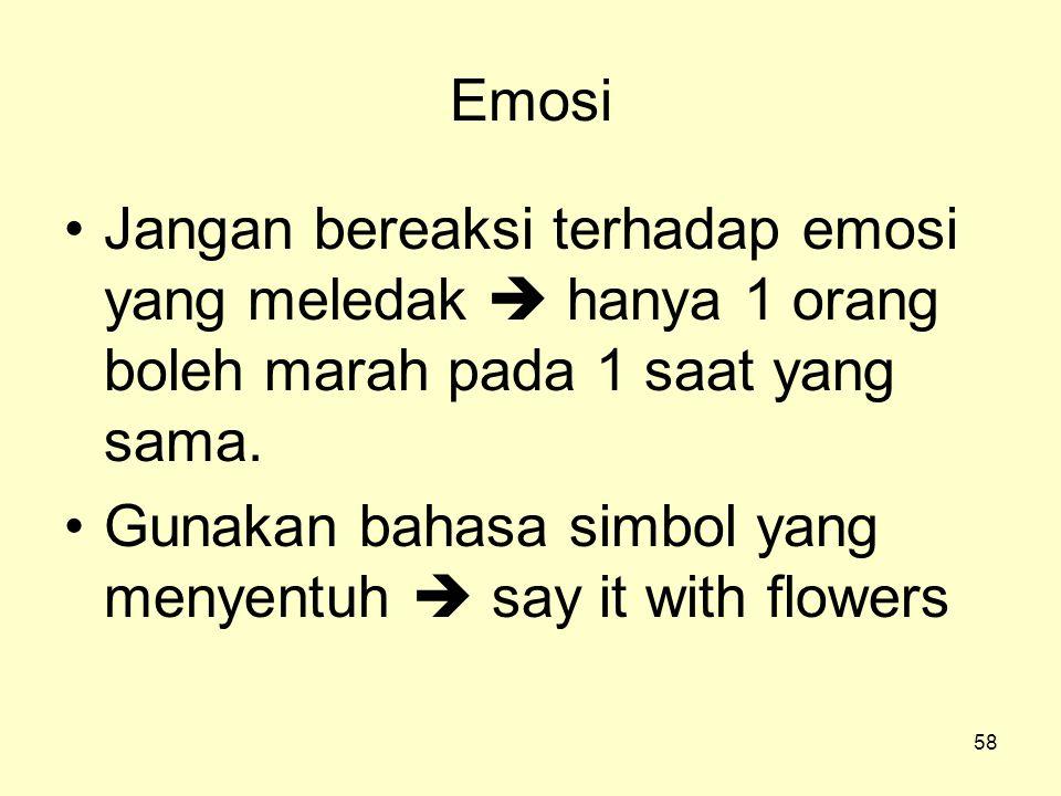 58 Emosi •Jangan bereaksi terhadap emosi yang meledak  hanya 1 orang boleh marah pada 1 saat yang sama. •Gunakan bahasa simbol yang menyentuh  say i