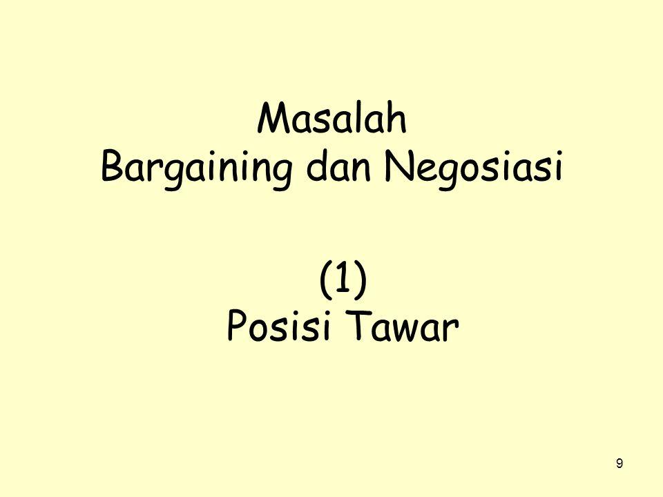 9 Masalah Bargaining dan Negosiasi (1) Posisi Tawar