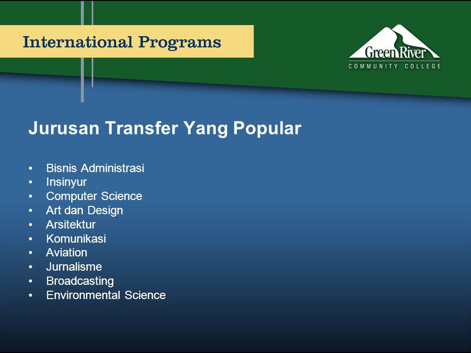 Jurusan Transfer Yang Popular •Bisnis Administrasi •Insinyur •Computer Science •Art dan Design •Arsitektur •Komunikasi •Aviation •Jurnalisme •Broadcas