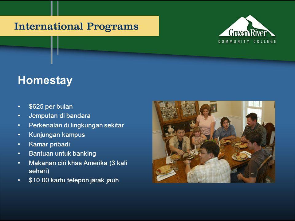 Homestay •$625 per bulan •Jemputan di bandara •Perkenalan di lingkungan sekitar •Kunjungan kampus •Kamar pribadi •Bantuan untuk banking •Makanan ciri
