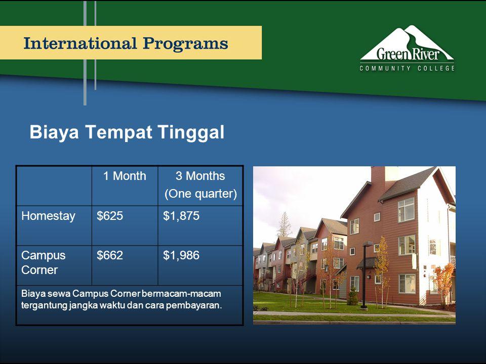 Biaya Tempat Tinggal 1 Month3 Months (One quarter) Homestay$625$1,875 Campus Corner $662$1,986 Biaya sewa Campus Corner bermacam-macam tergantung jang