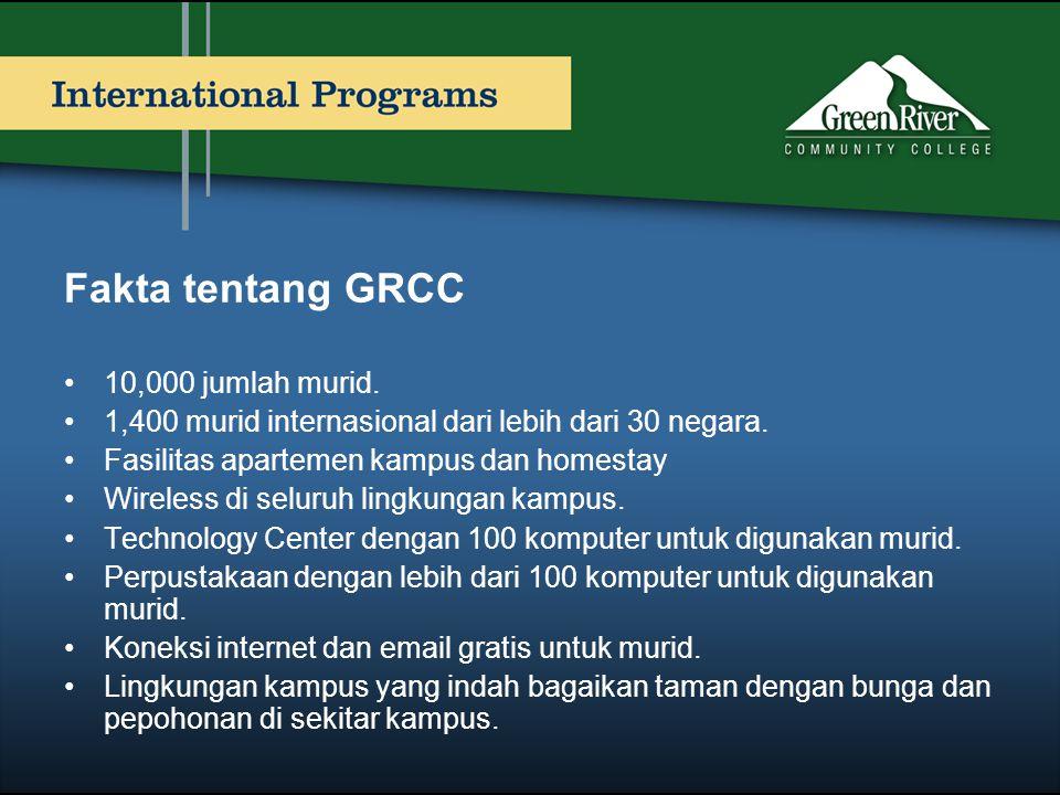 Fakta tentang GRCC •10,000 jumlah murid. •1,400 murid internasional dari lebih dari 30 negara. •Fasilitas apartemen kampus dan homestay •Wireless di s