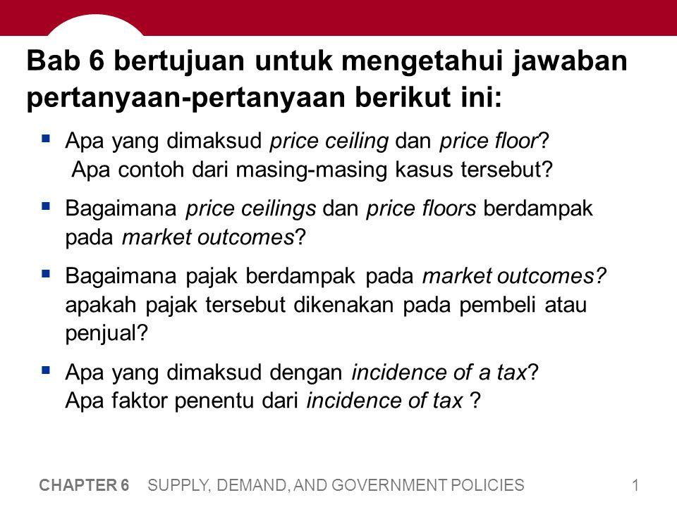 1 CHAPTER 6 SUPPLY, DEMAND, AND GOVERNMENT POLICIES Bab 6 bertujuan untuk mengetahui jawaban pertanyaan-pertanyaan berikut ini:  Apa yang dimaksud pr