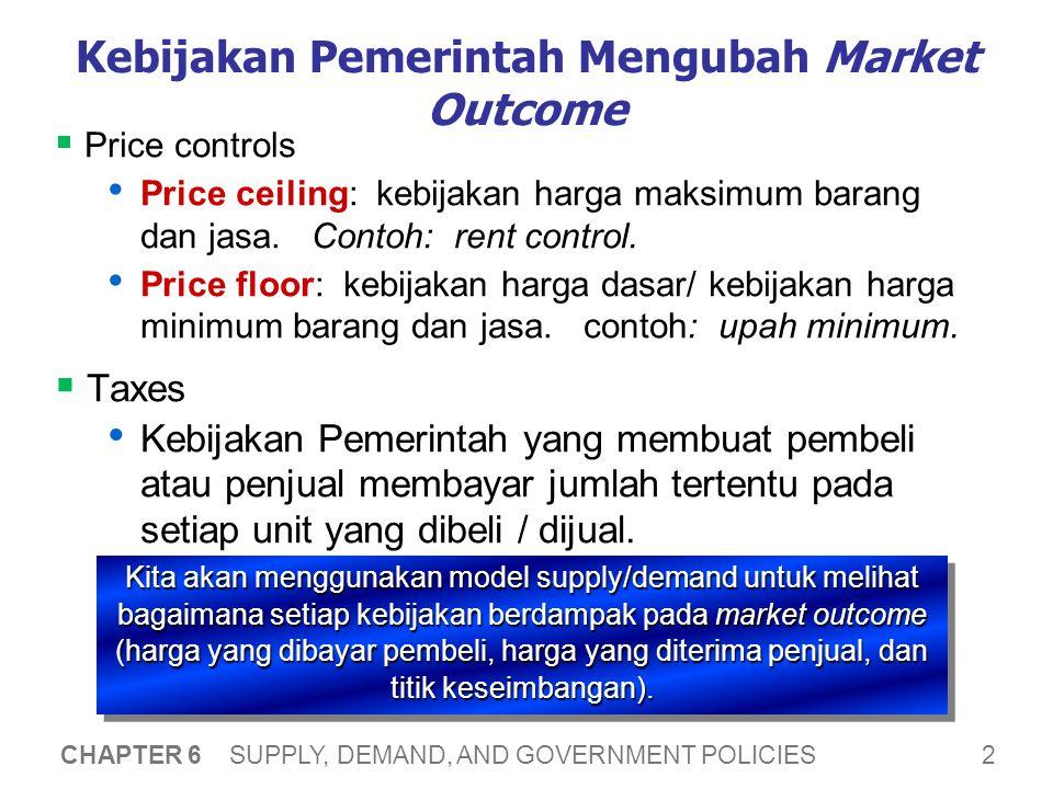 2 CHAPTER 6 SUPPLY, DEMAND, AND GOVERNMENT POLICIES Kebijakan Pemerintah Mengubah Market Outcome  Price controls • Price ceiling: kebijakan harga maksimum barang dan jasa.