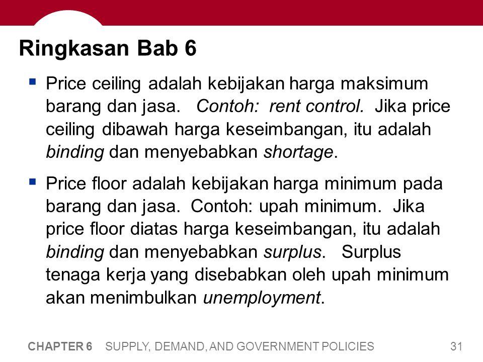 31 CHAPTER 6 SUPPLY, DEMAND, AND GOVERNMENT POLICIES Ringkasan Bab 6  Price ceiling adalah kebijakan harga maksimum barang dan jasa. Contoh: rent con