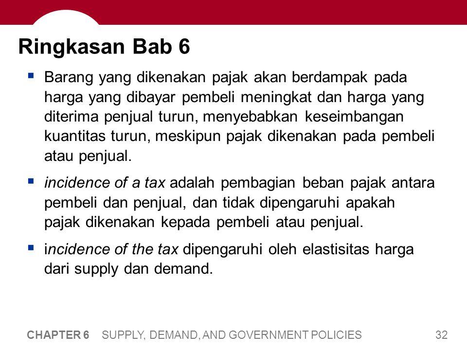 32 CHAPTER 6 SUPPLY, DEMAND, AND GOVERNMENT POLICIES Ringkasan Bab 6  Barang yang dikenakan pajak akan berdampak pada harga yang dibayar pembeli meni