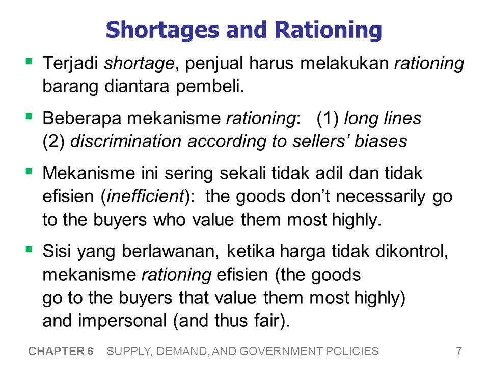 7 CHAPTER 6 SUPPLY, DEMAND, AND GOVERNMENT POLICIES Shortages and Rationing  Terjadi shortage, penjual harus melakukan rationing barang diantara pemb