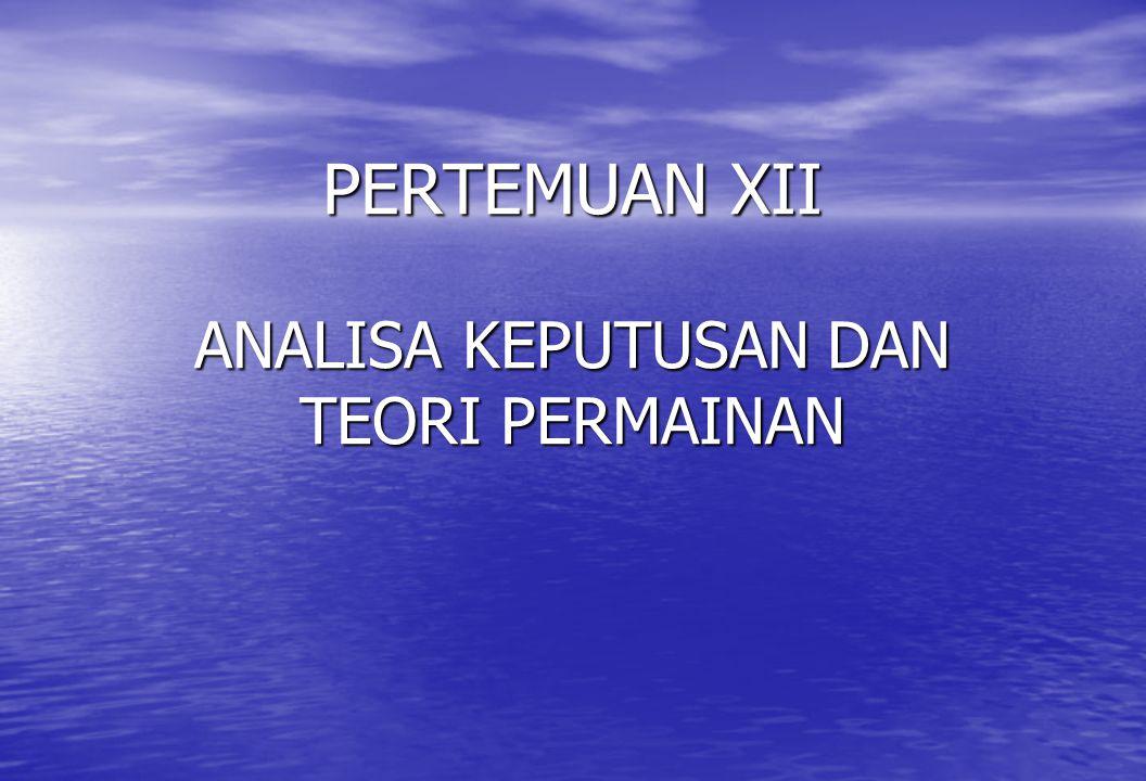 • Jika perush II memilih str C, maka : 4p + 7 ( 1-p ) = 7 – 3p 4p + 7 ( 1-p ) = 7 – 3p Sehingga ekspektasi keuntungan : 1 + 7p = 7 – 3p 1 + 7p = 7 – 3p p = 0,6 p = 0,6 Jadi : EG ( perush I ) = 0,60 (8) + 0,40 (1) = 5,2 % peningkatan pangsa pasar EG ( perush II ) = 0,60 (4) + 0,40 (7) = 5,2 % peningkatan pangsa pasar