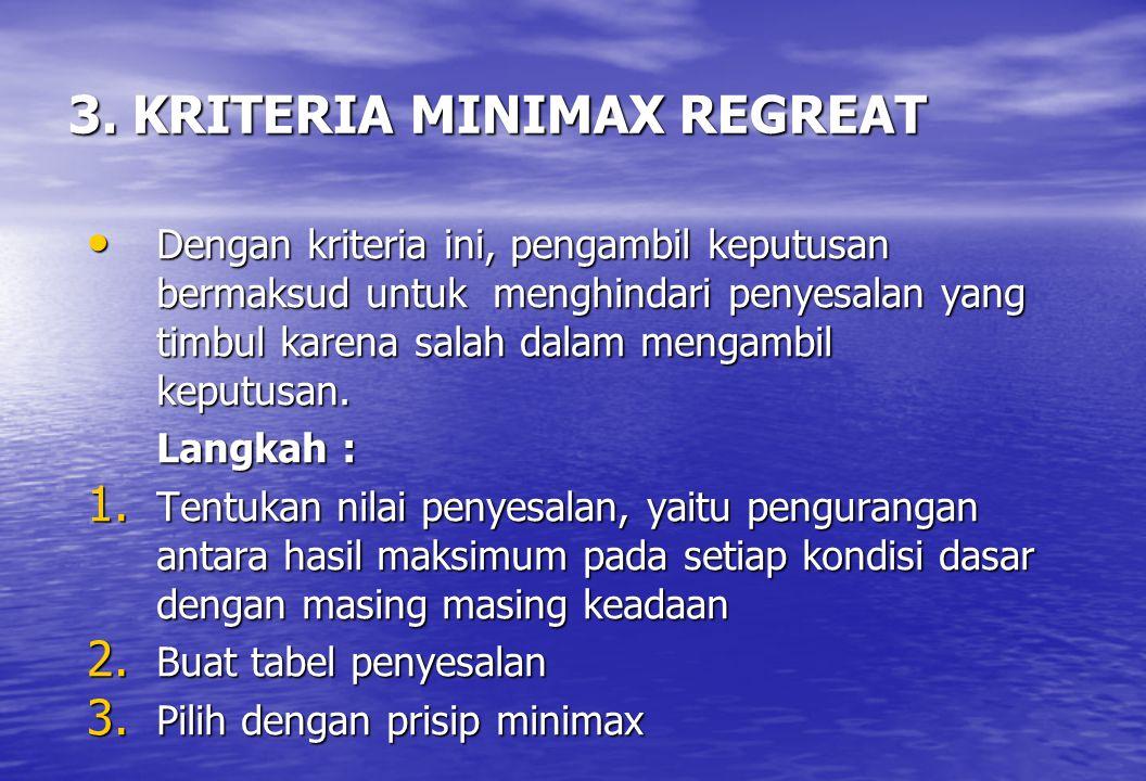 3. KRITERIA MINIMAX REGREAT • Dengan kriteria ini, pengambil keputusan bermaksud untuk menghindari penyesalan yang timbul karena salah dalam mengambil