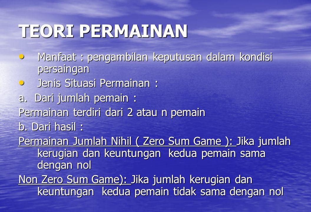 TEORI PERMAINAN • Manfaat : pengambilan keputusan dalam kondisi persaingan • Jenis Situasi Permainan : a. Dari jumlah pemain : Permainan terdiri dari