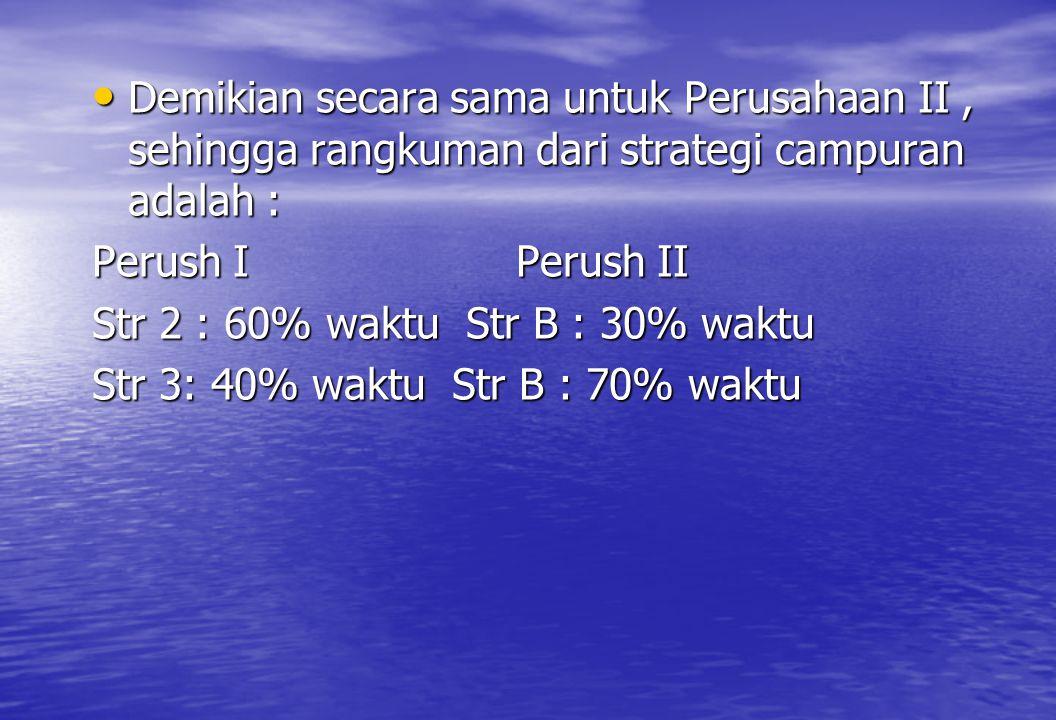 • Demikian secara sama untuk Perusahaan II, sehingga rangkuman dari strategi campuran adalah : Perush I Perush II Str 2 : 60% waktu Str B : 30% waktu