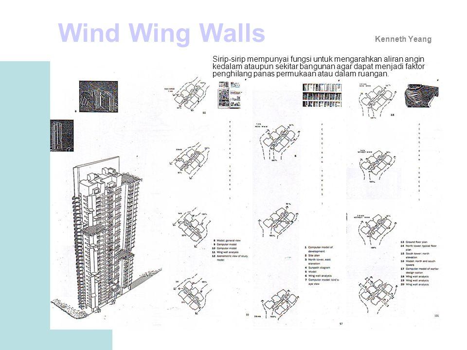 Wind Wing Walls Kenneth Yeang Sirip-sirip mempunyai fungsi untuk mengarahkan aliran angin kedalam ataupun sekitar bangunan agar dapat menjadi faktor penghilang panas permukaan atau dalam ruangan.