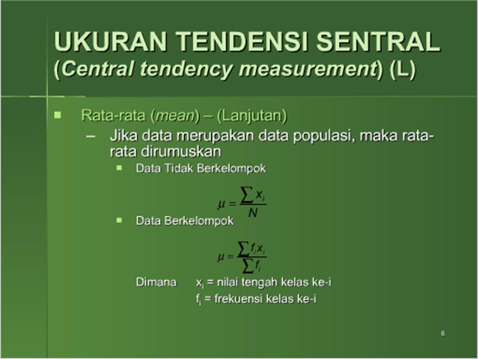 1.Rata-rata hitung data tidak berkelompok  Data tidak berkelompok artinya nilainya merupakan nilai individual  Rumusnya : untuk sampel untuk populasi