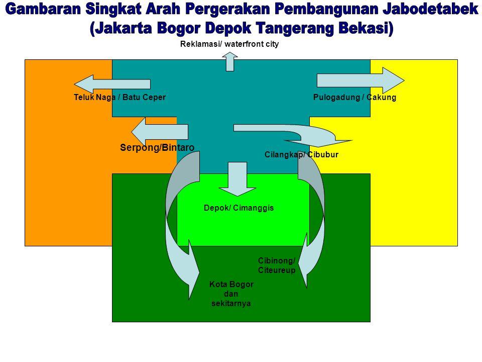 Serpong/Bintaro Teluk Naga / Batu Ceper Reklamasi/ waterfront city Pulogadung / Cakung Depok/ Cimanggis Cilangkap/ Cibubur Kota Bogor dan sekitarnya Cibinong/ Citeureup