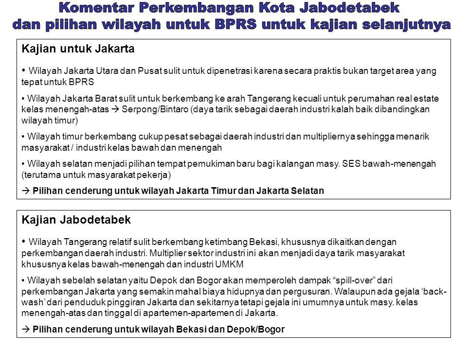 Kajian untuk Jakarta • Wilayah Jakarta Utara dan Pusat sulit untuk dipenetrasi karena secara praktis bukan target area yang tepat untuk BPRS • Wilayah Jakarta Barat sulit untuk berkembang ke arah Tangerang kecuali untuk perumahan real estate kelas menengah-atas  Serpong/Bintaro (daya tarik sebagai daerah industri kalah baik dibandingkan wilayah timur) • Wilayah timur berkembang cukup pesat sebagai daerah industri dan multipliernya sehingga menarik masyarakat / industri kelas bawah dan menengah • Wilayah selatan menjadi pilihan tempat pemukiman baru bagi kalangan masy.