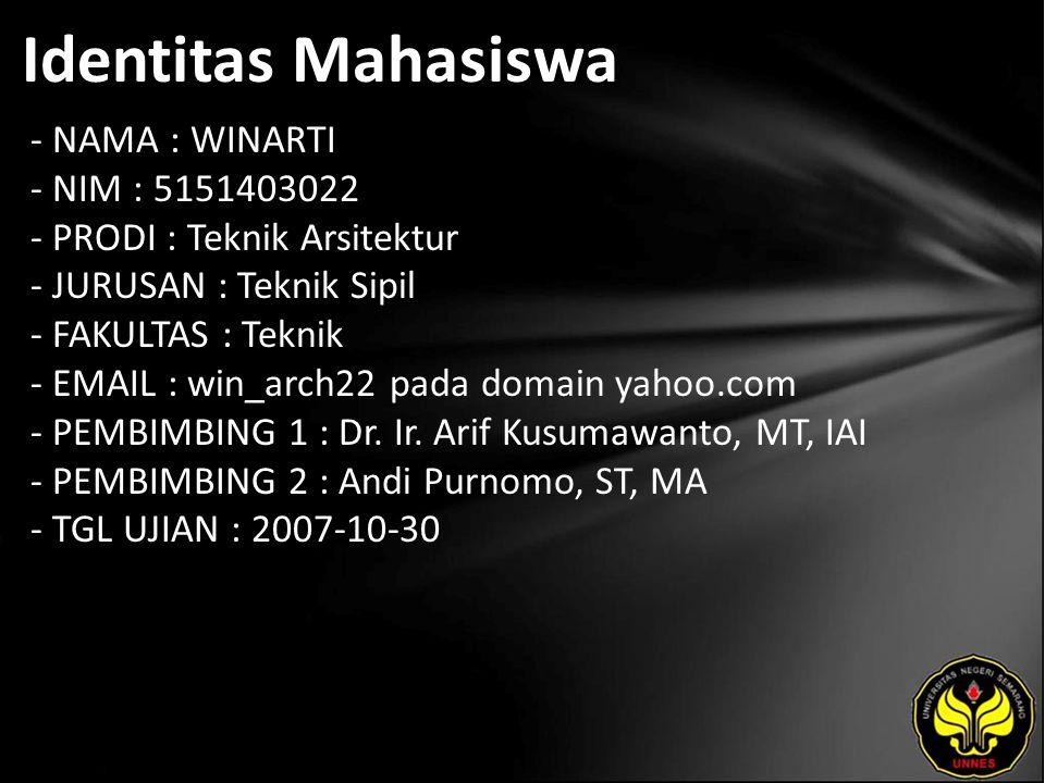 Identitas Mahasiswa - NAMA : WINARTI - NIM : 5151403022 - PRODI : Teknik Arsitektur - JURUSAN : Teknik Sipil - FAKULTAS : Teknik - EMAIL : win_arch22 pada domain yahoo.com - PEMBIMBING 1 : Dr.
