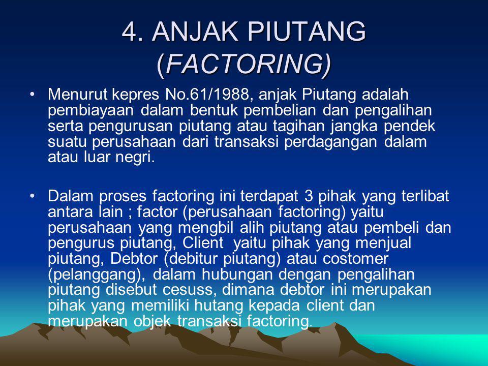 4. ANJAK PIUTANG (FACTORING) •Menurut kepres No.61/1988, anjak Piutang adalah pembiayaan dalam bentuk pembelian dan pengalihan serta pengurusan piutan