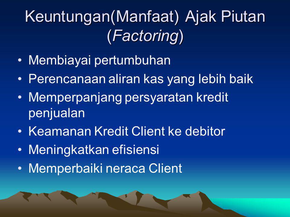 Keuntungan(Manfaat) Ajak Piutan (Factoring) •Membiayai pertumbuhan •Perencanaan aliran kas yang lebih baik •Memperpanjang persyaratan kredit penjualan