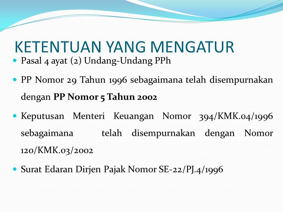 KETENTUAN YANG MENGATUR  Pasal 4 ayat (2) Undang-Undang PPh  PP Nomor 29 Tahun 1996 sebagaimana telah disempurnakan dengan PP Nomor 5 Tahun 2002  K