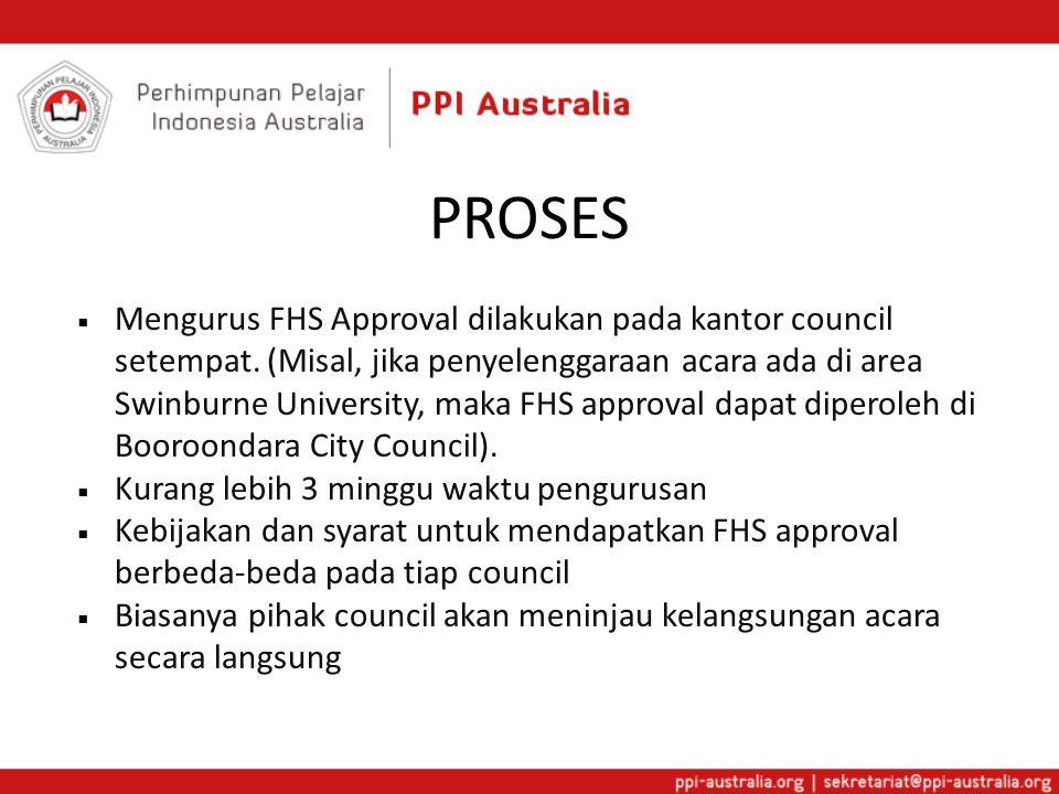 PROSES  Mengurus FHS Approval dilakukan pada kantor council setempat. (Misal, jika penyelenggaraan acara ada di area Swinburne University, maka FHS a
