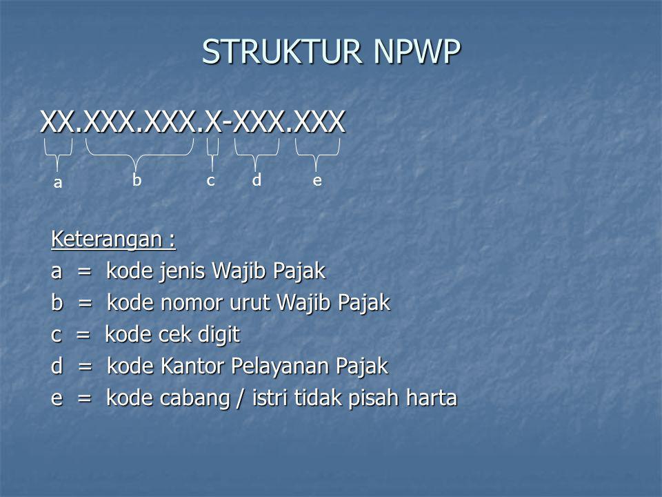 STRUKTUR NPWP XX.XXX.XXX.X-XXX.XXX a bcde Keterangan : a = kode jenis Wajib Pajak b = kode nomor urut Wajib Pajak c = kode cek digit d = kode Kantor P
