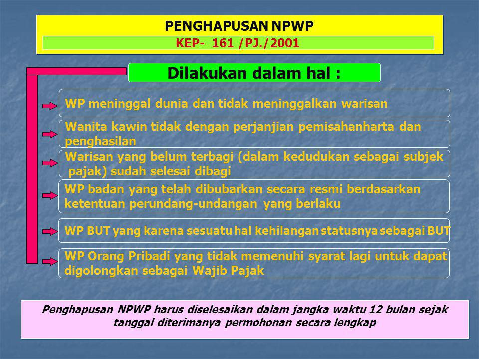Dilakukan dalam hal : WP Bubar WP tidak memenuhi syarat lagi sebagai PKP PENCABUTAN PENGUKUHAN PKP KEP- 516 /PJ./2000 WP pindah alamat ke wilayah Kerja KPP Lain Pencabutan Pengukuhan PKP harus diselesaikan dalam jangka waktu 12 bulan sejak tanggal diterimanya permohonan secara lengkap