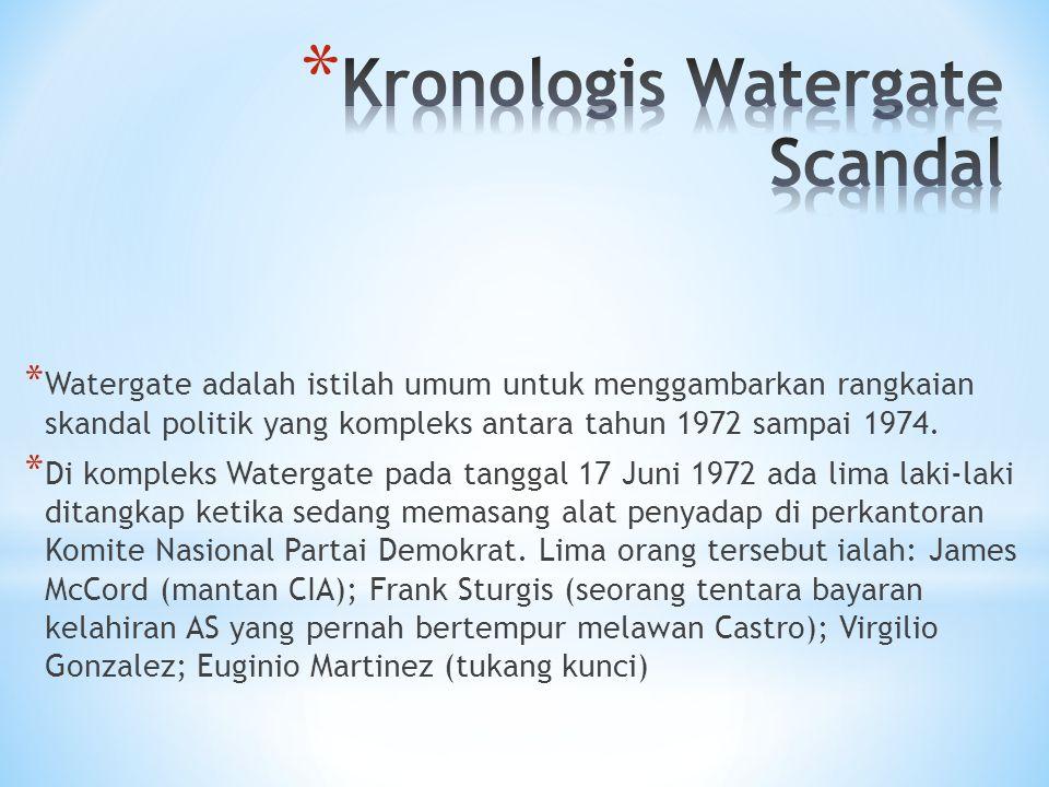 * Watergate adalah istilah umum untuk menggambarkan rangkaian skandal politik yang kompleks antara tahun 1972 sampai 1974. * Di kompleks Watergate pad