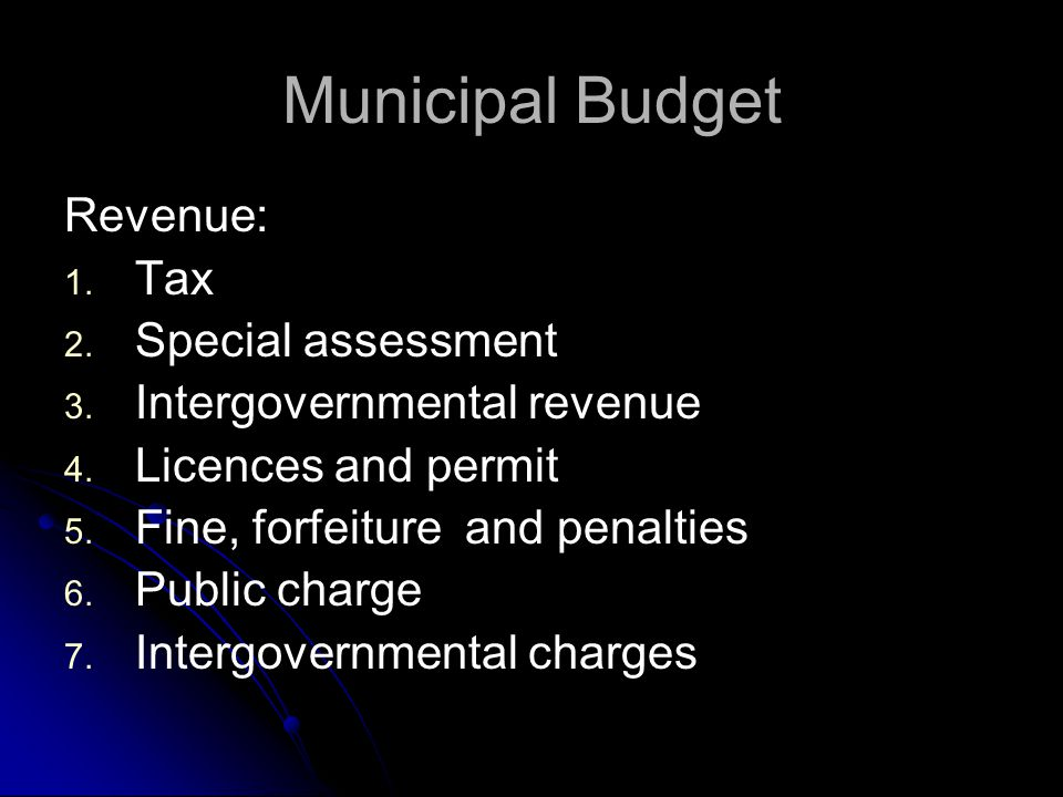 Municipal Budget Expenditure: 1. 1. General government 2. 2. Public safety 3. 3. Public works 4. 4. Health &human services 5. 5. Culture,recreation an
