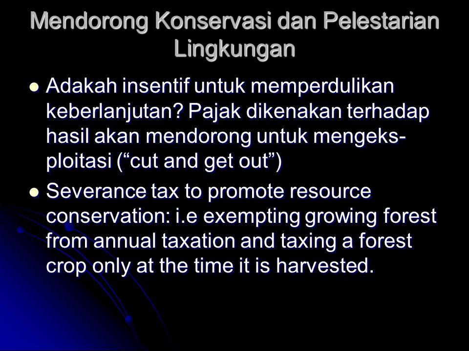 Mendorong Pengguaan Lahan Intensif  Pajak ditetapkan berdasarkan tingkat pro- duksi rata-rata per-luas lahan; sehingga pengusaha berusaha meningkatka
