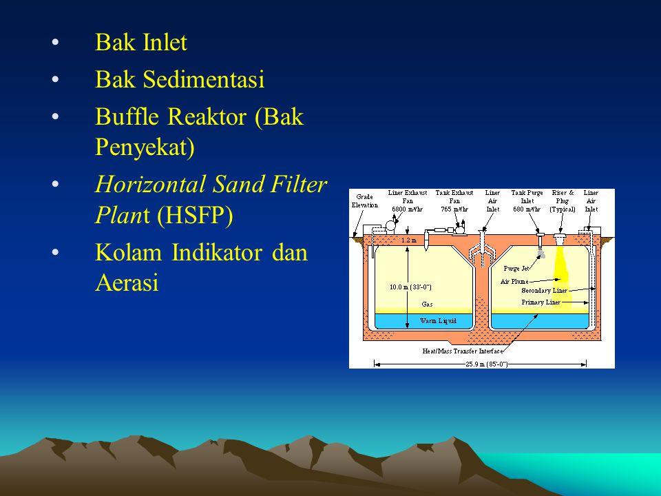 •Bak Inlet •Bak Sedimentasi •Buffle Reaktor (Bak Penyekat) •Horizontal Sand Filter Plant (HSFP) •Kolam Indikator dan Aerasi