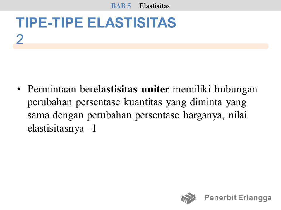 TIPE-TIPE ELASTISITAS 2 • Permintaan berelastisitas uniter memiliki hubungan perubahan persentase kuantitas yang diminta yang sama dengan perubahan pe