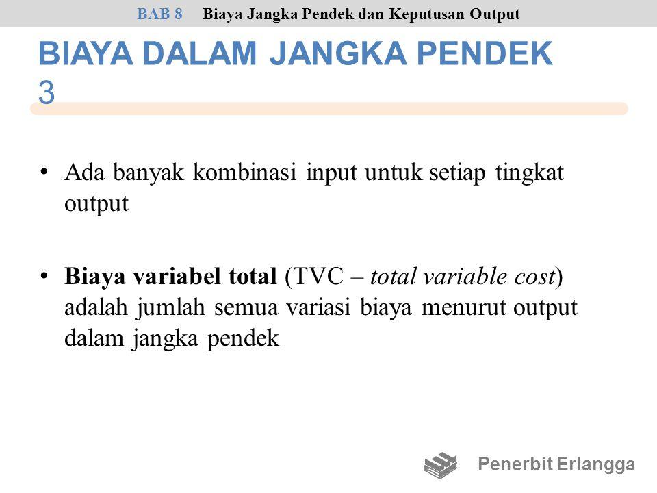 BIAYA DALAM JANGKA PENDEK 3 • Ada banyak kombinasi input untuk setiap tingkat output • Biaya variabel total (TVC – total variable cost) adalah jumlah