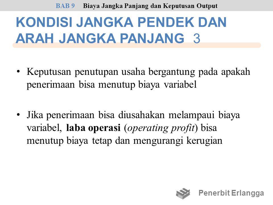 KONDISI JANGKA PENDEK DAN ARAH JANGKA PANJANG 3 • Keputusan penutupan usaha bergantung pada apakah penerimaan bisa menutup biaya variabel • Jika pener