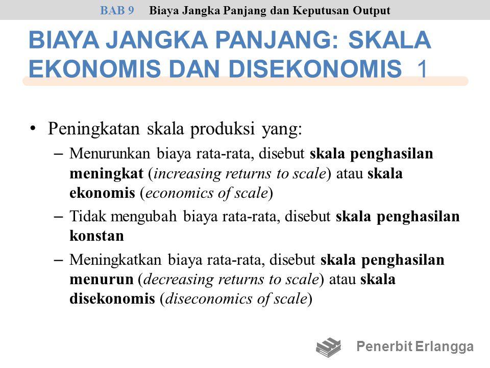 BIAYA JANGKA PANJANG: SKALA EKONOMIS DAN DISEKONOMIS 1 • Peningkatan skala produksi yang: – Menurunkan biaya rata-rata, disebut skala penghasilan meni