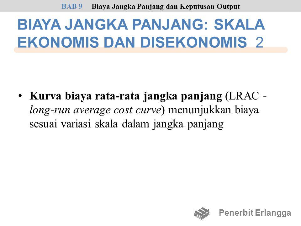 BIAYA JANGKA PANJANG: SKALA EKONOMIS DAN DISEKONOMIS 2 • Kurva biaya rata-rata jangka panjang (LRAC - long-run average cost curve) menunjukkan biaya s