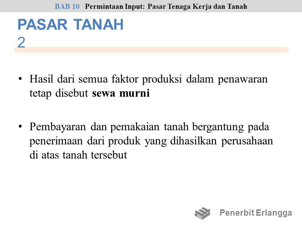 PASAR TANAH 2 • Hasil dari semua faktor produksi dalam penawaran tetap disebut sewa murni • Pembayaran dan pemakaian tanah bergantung pada penerimaan