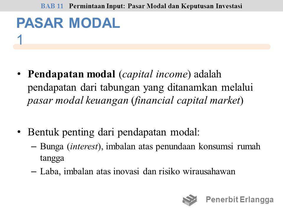 PASAR MODAL 1 • Pendapatan modal (capital income) adalah pendapatan dari tabungan yang ditanamkan melalui pasar modal keuangan (financial capital mark