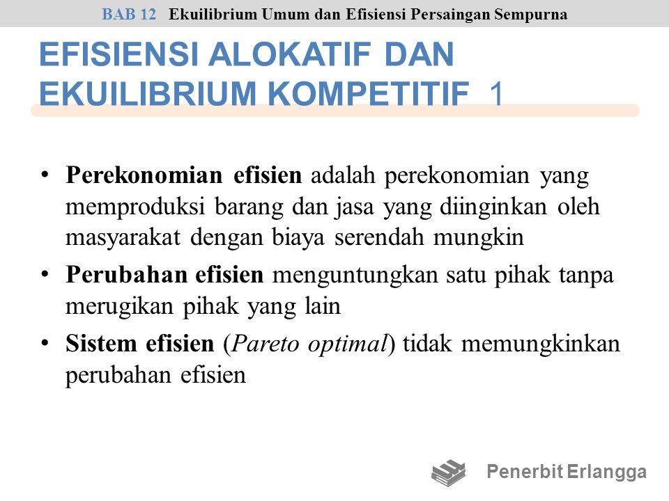 EFISIENSI ALOKATIF DAN EKUILIBRIUM KOMPETITIF 1 • Perekonomian efisien adalah perekonomian yang memproduksi barang dan jasa yang diinginkan oleh masya