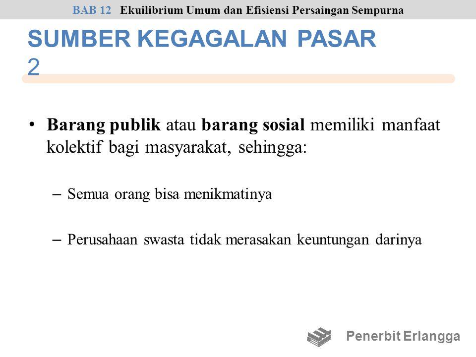 SUMBER KEGAGALAN PASAR 2 • Barang publik atau barang sosial memiliki manfaat kolektif bagi masyarakat, sehingga: – Semua orang bisa menikmatinya – Per