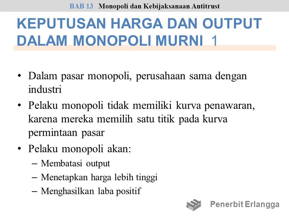 KEPUTUSAN HARGA DAN OUTPUT DALAM MONOPOLI MURNI 1 • Dalam pasar monopoli, perusahaan sama dengan industri • Pelaku monopoli tidak memiliki kurva penaw