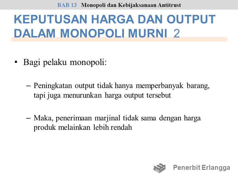 KEPUTUSAN HARGA DAN OUTPUT DALAM MONOPOLI MURNI 2 • Bagi pelaku monopoli: – Peningkatan output tidak hanya memperbanyak barang, tapi juga menurunkan h