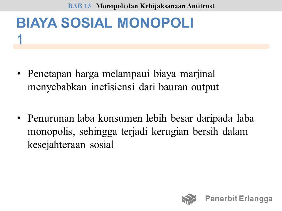 BIAYA SOSIAL MONOPOLI 1 • Penetapan harga melampaui biaya marjinal menyebabkan inefisiensi dari bauran output • Penurunan laba konsumen lebih besar da