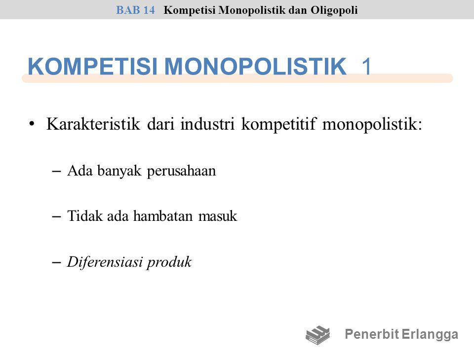 KOMPETISI MONOPOLISTIK 1 • Karakteristik dari industri kompetitif monopolistik: – Ada banyak perusahaan – Tidak ada hambatan masuk – Diferensiasi prod