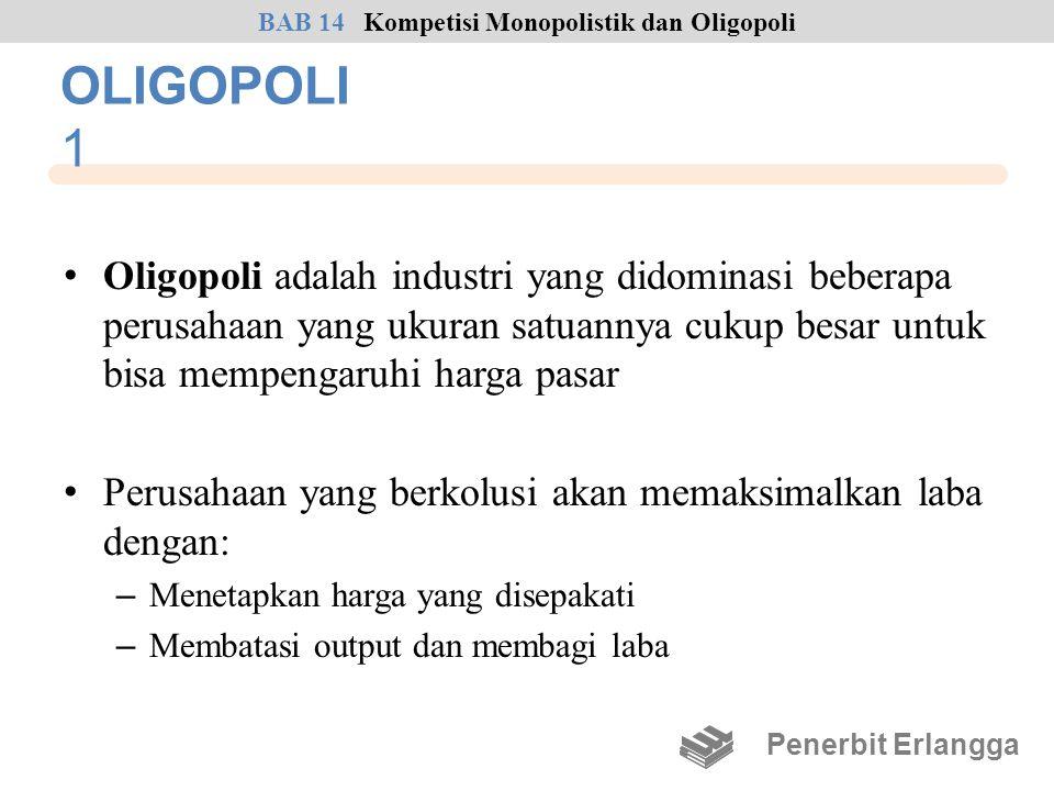OLIGOPOLI 1 • Oligopoli adalah industri yang didominasi beberapa perusahaan yang ukuran satuannya cukup besar untuk bisa mempengaruhi harga pasar • Pe