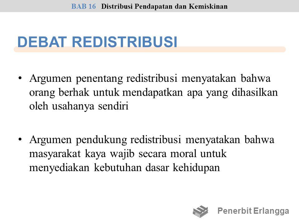 DEBAT REDISTRIBUSI • Argumen penentang redistribusi menyatakan bahwa orang berhak untuk mendapatkan apa yang dihasilkan oleh usahanya sendiri • Argume