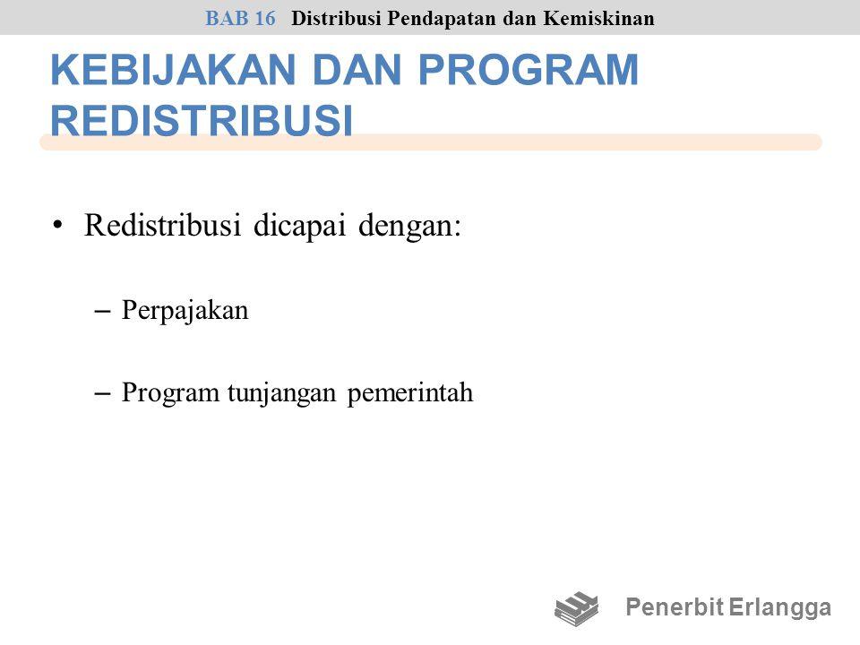 KEBIJAKAN DAN PROGRAM REDISTRIBUSI • Redistribusi dicapai dengan: – Perpajakan – Program tunjangan pemerintah Penerbit Erlangga BAB 16Distribusi Penda