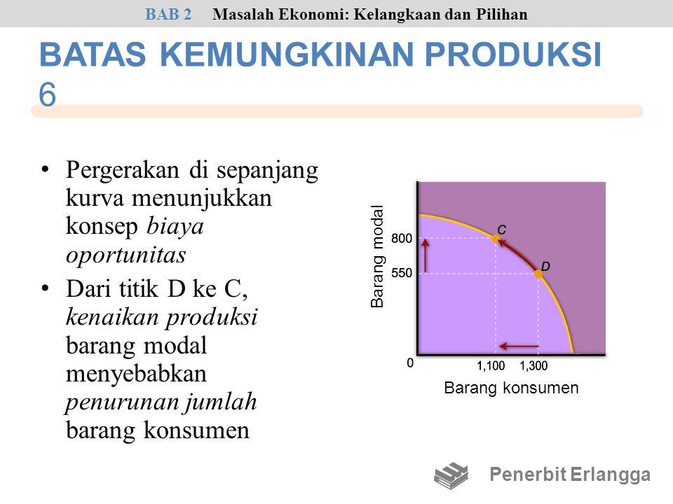 • Pergerakan di sepanjang kurva menunjukkan konsep biaya oportunitas • Dari titik D ke C, kenaikan produksi barang modal menyebabkan penurunan jumlah