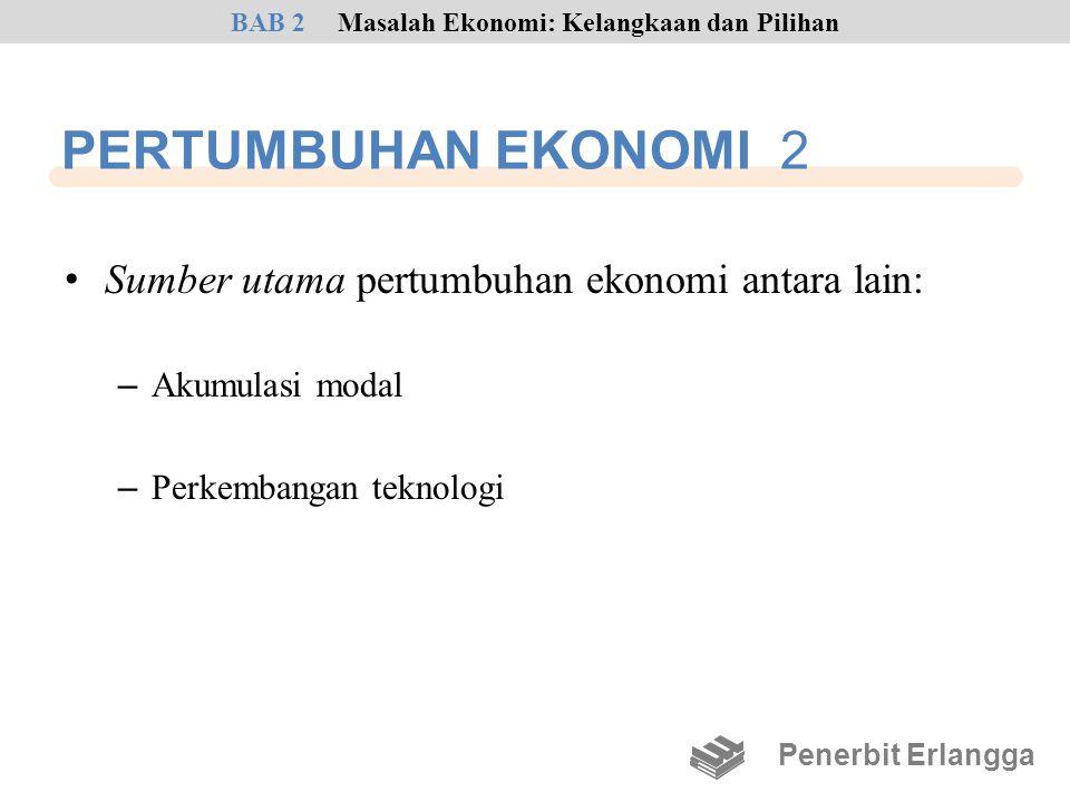 PERTUMBUHAN EKONOMI 2 • Sumber utama pertumbuhan ekonomi antara lain: – Akumulasi modal – Perkembangan teknologi Penerbit Erlangga BAB 2Masalah Ekonom