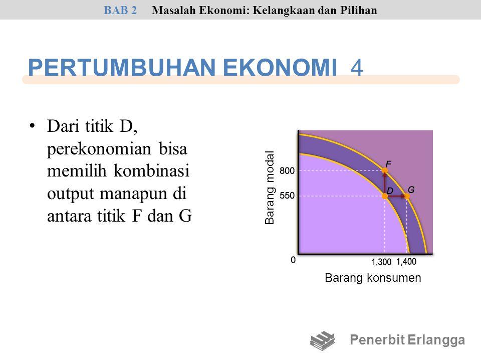 • Dari titik D, perekonomian bisa memilih kombinasi output manapun di antara titik F dan G Penerbit Erlangga BAB 2Masalah Ekonomi: Kelangkaan dan Pili